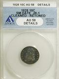 Bust Dimes: , 1828 10C Small Date--Cleaned, Retoned--ANACS. AU58 Details. JR-1.NGC Census: (4/18). PCGS Population (5/28). Mintage: 125...