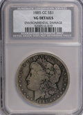 Morgan Dollars, 1885-CC $1 --Environmental Damage--NCS. VG Details. NGC Census: (0/6558). PCGS Population (8/15448). Mintage: 228,000. Numis...
