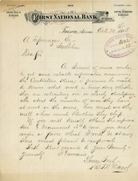 ALS from First National Bank, Tucson, to Cochise County Bank, Tombstone, Regarding Contention Mine