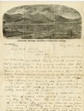 Western Expansion, Colorado Springs Mining Letterhead ALS from E. P. Tenney,President, to General H. G. Thomas,...