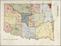 Military & Patriotic:Indian Wars, Multi-Color Map of Indian Territory 1887. ...