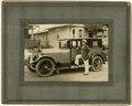 """Photography:Studio Portraits, Matted Albumen Photograph of Early Automobile and Owner: """"East Bay, Jacksonville, Florida,""""..."""