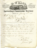 Transportation:Railroad, D. W. Earl, Forwarding and Commission Merchant, Autograph LetterSigned,...