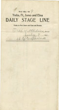 Transportation:Railroad, Way Bill from Yreka, Fort Jones and Etna Stage Line,...