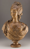 Decorative Arts, French:Other , A FRENCH TERRACOTTA BUST OF MARIE ANTOINETTE. Late 19th Century.Marks: LECOMTE 1783, mark of ATELIER PETIT, PARIS....