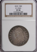Bust Half Dollars, 1810 50C VF30 NGC. O-104A. NGC Census: (17/365). PCGS Population(22/345). Mintage: 1,276,276. Numismedia Wsl. Price for NG...