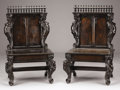 Furniture : English, A PAIR OF ENGLISH GOTHIC REVIVAL WALNUT FIGURAL CHAIRS. Late 19th Century. 42 x 24-1/2 x 19-1/4 inches (106.7 x 62.2 x 48.9 ... (Total: 2 Items)