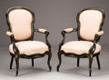 Furniture : English, A PAIR OF ENGLISH VICTORIAN EBONIZED OPEN ARMCHAIRS. Late 19th-Early 20th Century. 36-5/8 x 24 x 22 inches (93.0 x 61.0 x 55...