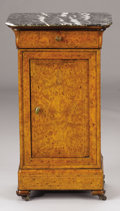 Furniture : Continental, A CONTINENTAL BURLED ELM BEDSIDE CABINET. Mid 19th Century. 30-3/4x 17-3/4 x 14-1/4 inches (78.1 x 45.1 x 36.2 cm). ...