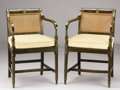 Furniture , A PAIR OF ENGLISH SHERATON PAINTED BEECHWOOD OPEN ARMCHAIRS. Circa 1800-1850. 31-1/2 x 20-1/2 x 19 inches (80 x 52.1 x 48.3 ...