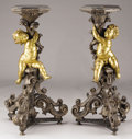 Lighting:Candelabra, A PAIR OF NORTHERN ITALIAN PARTIAL GILT WOOD TORCHÈRES. Late 18th- Early 19th Century. 47-3/4 inches (121.3 cm) high...