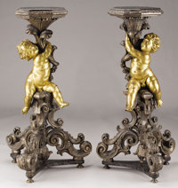 A PAIR OF NORTHERN ITALIAN PARTIAL GILT WOOD TORCHÈRES Late 18th- Early 19th Century 47-3