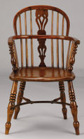 Furniture : English, AN ENGLISH YEWWOOD AND ELM WINDSOR ARMCHAIR. 36 x 21 x 16 inches (91.4 x 53.3 x 40.6 cm). ...