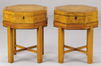A PAIR OF ENGLISH ELM DEED BOXES ON STANDS Late 19th Century and later 20-1/2 x 17 x 17 inches (52.1 x 43.2 x 4
