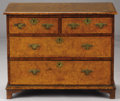 Furniture : English, AN ENGLISH GEORGIAN-STYLE WALNUT CHEST OF DRAWERS. Early 19th Century. 26-1/2 x 34 x 19-1/4 inches (67.3 x 86.4 x 48.9 cm). ...