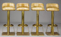 Furniture : French, A SET OF FOUR BRASS BAR STOOLS. Modern. 39-1/2 x 16 x 15-1/4 inches(100.3 x 40.6 x 38.7 cm) each. ...