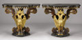 Furniture : Continental, A PAIR OF ITALIAN BAROQUE-STYLE CARVED, GILT WOOD, AND PAINTDECORATED FIGURAL CONSOLE TABLES. Modern with antique elements...