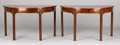 Furniture , A PAIR OF ENGLISH GEORGE III-STYLE MAHOGANY AND SATINWOOD CONSOLE TABLES. 27-1/2 x 48 x 24 inches (69.9 x 121.9 x 61 cm) eac...