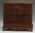 Furniture : English, AN ENGLISH GEORGIAN MINIATURE MAHOGANY CHEST OF DRAWERS. Mid 19th Century. 17-1/2 x 18-1/2 x 10-1/4 inches (44.5 x 47 x 26 c...