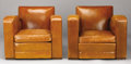Furniture : French, A PAIR OF FRENCH LEATHER UPHOLSTERED CLUB CHAIRS. Circa 1930. 31 x34 x 33 inches (78.7 x 86.4 x 83.8 cm), each. ...