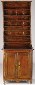 Furniture : French, A FRENCH LOUIS XVTH-STYLE PROVINCIAL WALNUT AND PINEBUFFET-VAISSELIER. 18th Century with assembled elements.81-1/2...