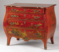 Furniture , A ROCOCO-STYLE RED AND GILT LACQUERED BOMBÉ COMMODE. 20th Century. 30-1/2 x 35 x 21 inches (77.5 x 88.9 x 53.3 c...