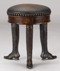 Furniture , A VICTORIAN-STYLE MAHOGANY AND BRONZE STOOL. 20th Century. 20 inches (50.8 cm) high. ...