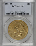 Liberty Double Eagles: , 1861-O $20 AU50 PCGS. PCGS Population (8/28). NGC Census: (24/46).Mintage: 17,741. Numismedia Wsl. Price for NGC/PCGS coin...