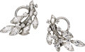 Estate Jewelry:Earrings, Diamond, Platinum Earrings, J.E. Caldwell & Co., circa 1950....