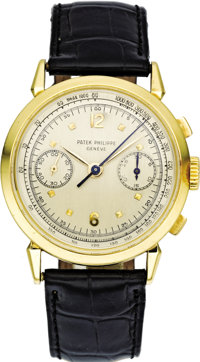 Patek Philippe Men's Gold Ref. 1579 Chronograph Wristwatch with Register, circa 1950