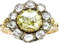 Estate Jewelry:Rings, Victorian Colored Diamond, Diamond, Silver-Topped Gold Ring. ...