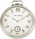 Timepieces:Pocket (post 1900), Paul Ditisheim Platinum Diamond Dial Pocket Watch, circa 1915. ...