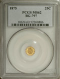 California Fractional Gold: , 1875 25C Indian Octagonal 25 Cents, BG-797, Low R.4, MS62 PCGS.PCGS Population (20/83). NGC Census: (2/6). (#10624)...