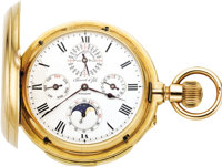 Perret and Fils, Important Gold Minute Repeater With Perpetual Calendar and Moon Phase, circa 1890