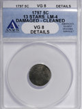 Early Half Dimes: , 1797 H10C 13 Stars--Cleaned, Damaged--ANACS. VG8 Details. LM-4.PCGS Population (0/14). Numismedia Wsl...