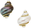 Estate Jewelry:Earrings, Shell, Cultured Half-Pearl, Gold Earrings, Seaman Schepps. ...(Total: 2 Items)