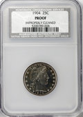 Proof Barber Quarters: , 1904 25C --Improperly Cleaned--NCS. Proof. Mintage: 670. (#5690)...