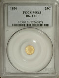 California Fractional Gold: , 1856 25C Liberty Octagonal 25 Cents, BG-111, R.3, MS63 PCGS. PCGSPopulation (75/45). NGC Census: (7/15). (#10380)...