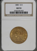 Liberty Eagles: , 1885 $10 AU53 NGC. NGC Census: (5/483). PCGS Population (12/339).Mintage: 253,400. Numismedia Wsl. Price for NGC/PCGS coin...
