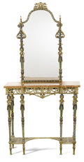 Furniture , A NEOCLASSICAL-STYLE BRONZE CONSOLE TABLE AND MIRROR. Late 19th-Early 20th Century. 64-1/2 x 32 x 12-1/2 inches (163.8 x 81.... (Total: 2 Items)