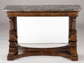 Furniture : French, A FRENCH RESTAURATION MAHOGANY CONSOLE TABLE. Circa 1830-1850. 32 x43 x 14 inches (81.3 x 109.2 x 35.6 cm). ...