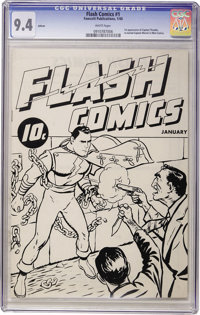 Flash Comics Ashcan Edition #1 Captain Thunder (Fawcett, 1940) CGC NM 9.4 White pages