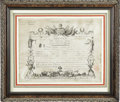 Military & Patriotic:Foreign Wars, Military Brevet Certificate Signed by General Lafayette. One page, oblong folio, on parchment, Paris, September 1790. ...