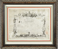 Military Brevet Certificate Signed by General Lafayette. One page, oblong folio, on parchment, Paris, September 1790