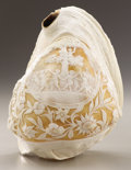 Decorative Arts, Continental:Other , PROPERTY FROM THE CROW ART PARTNERSHIP COLLECTION. . A POLISHED ANDCARVED CONCH SHELL. Possibly Italian, 19th-20th Century...