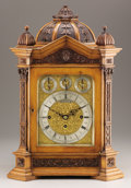 Decorative Arts, British:Other , AN ENGLISH OAK MANTEL CLOCK. Russells Ltd, 18 Church St, Liverpool,England, Late 19th Century. 22-3/4 inches (57.8 cm) high...