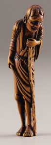 Asian:Japanese, PROPERTY FROM A DALLAS PRIVATE COLLECTION. A JAPANESE WOOD NETSUKE.18th Century. 4-3/4 inches (12.1 cm) high. ...