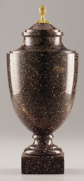 Decorative Arts, Continental:Other , A SWEDISH PORPHYRY COVERED URN. 19th Century. 13-1/4 inches (33.7 cm) high. ...