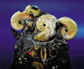 Fossils:Echinoderms, AN EXTREMELY RARE MULTIPLE SCAPHITE AND AMMONITE MATRIX . ...