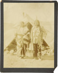 Western Expansion:Indian Artifacts, Imperial Size Photograph of Sioux Indians at Encampment ca 1890s. ...